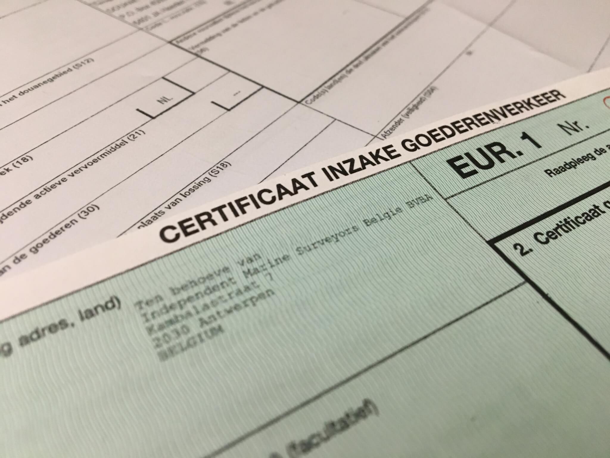 EUR.1 verklaring of oorsprongscertificaat